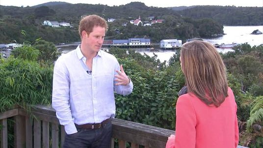 Prince Harry with Sky News Royal Correspondent Rhiannon Mills