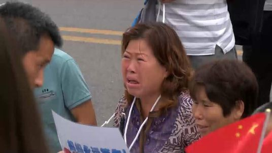A relative of one of the passengers on board Flight MH370 at a protest in Beijing.