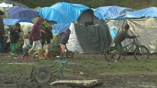 Tents at migrant camp