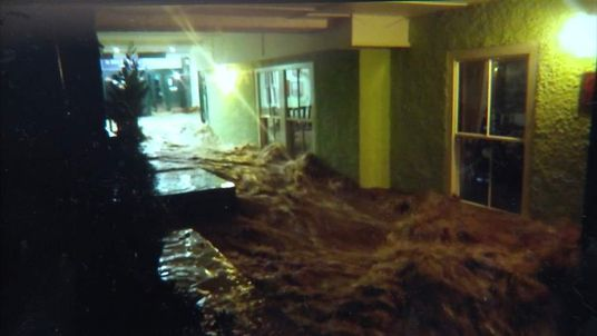Water Rushes Through a Hotel In Keswick