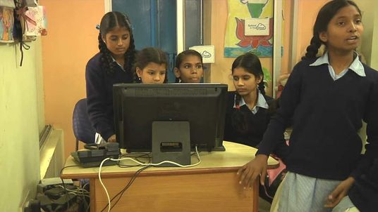 Students learning in India