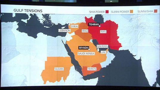 Saudi Shia Sunni conflict wall