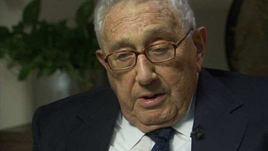 Former US Secretary of State Henry Kissinger talking to Sky News