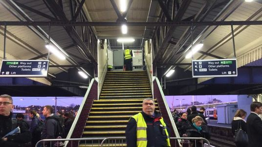 Tube strike stairwell guarded at Clapham Junction station