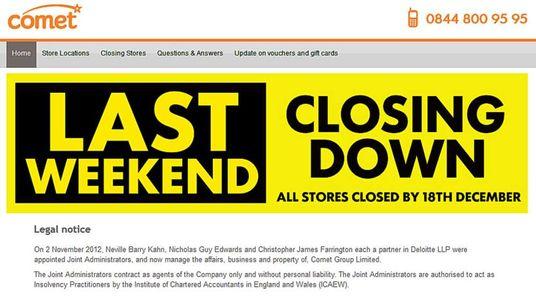 The last weekend of the Comet website