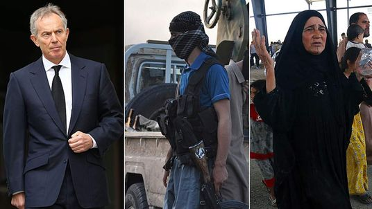 (L-R) Tony Blair, ISIS militant and Iraqi civilian