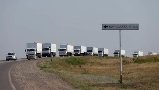 A Russian convoy of trucks apparently carrying humanitarian aid for Ukraine