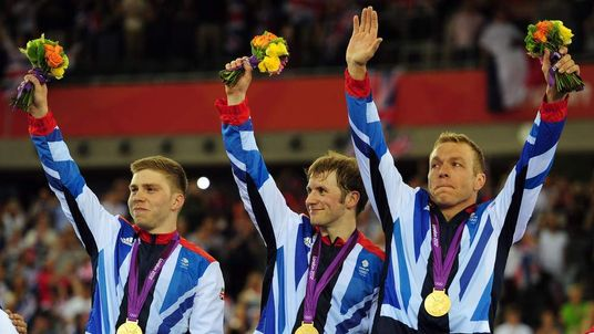 (L-R) Philip Hindes, Jason Kenny and Sir Chris Hoy