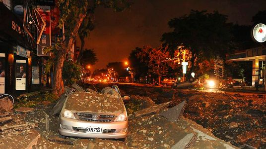 Wreckage of a damaged car is pictured after an explosion in Kaohsiung