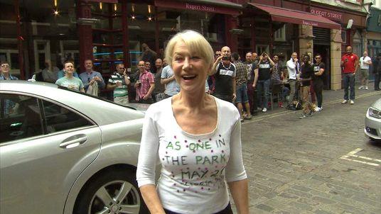 Dame Helen Mirren outside London's Gielgud theatre
