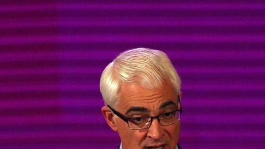 Better Together leader Alistair Darling speaking at the second television debate over Scottish independence
