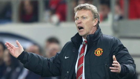Manager David Moyes watches from the touchline during the match against Olympiacos