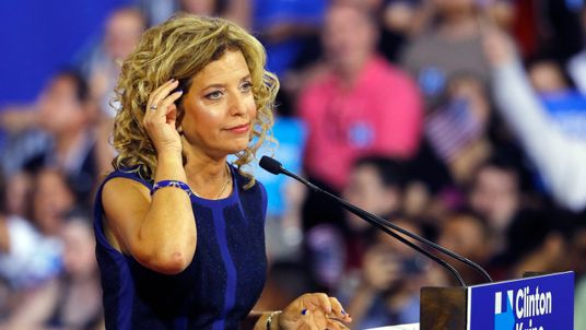 Democratic National Committee chairwoman Debbie Wasserman Schultz speaks before the arrival of Democratic presidential candidate Hillary Clinton in Miami