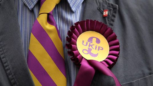 A man in a shirt and tie wearing a UKIP rosette
