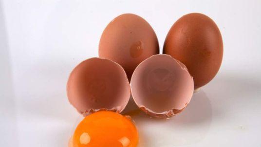 Cracked raw eggs