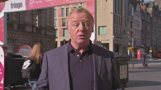 Les Dennis talking to Sky News in Edinburgh