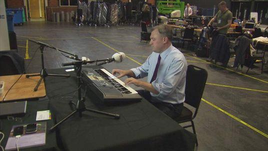 Ed Balls plays the piano