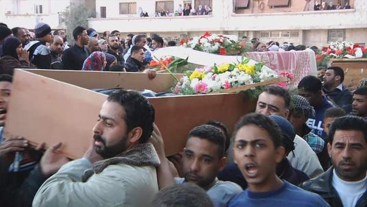A funeral in Wafideen, Syria