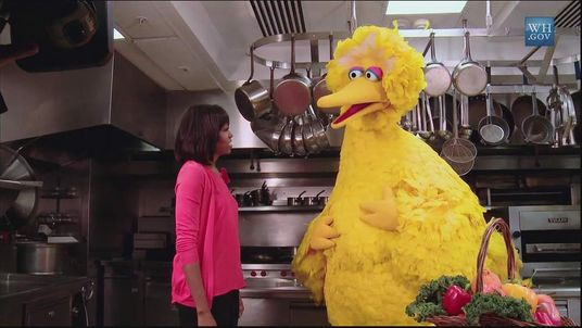 First Lady Michelle Obama talks to the Sesame Street character Big Bird about healthy eating