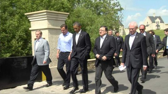 Members of the G8 arrive for talks in Lough Erne