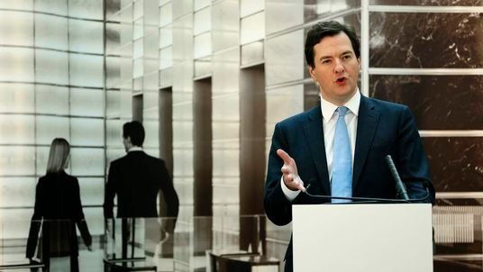 George Osborne speaks at JP Morgan in Bournemouth, southern England.