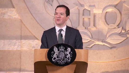 Chancellor George Osborne speaks at GCHQ in Cheltenham.