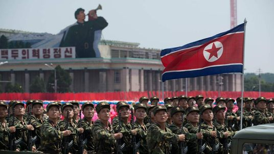North Korean soldiers take part in a military parade