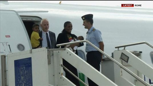 Meriam arrives in Rome with her family