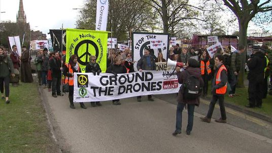 Anti-war protesters gather in Lincoln.