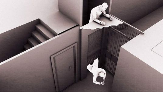 A 3D graphic showing men climbing down an elevator shaft