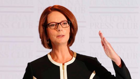Julia Gillard speaks at the National Press Club in Canberra