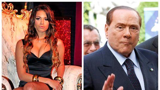 Karima El Mahroug of Morocco posing in Milan (l), and Italy's former Prime Minister Silvio Berlusconi waving in Brussels (r)