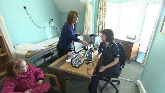 Kay Burley interviews a nurse at a GP surgery