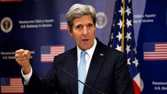 John Kerry speaks during a news conference at the US Embassy in Kiev