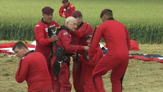 Jock Hutton after his parachute jump