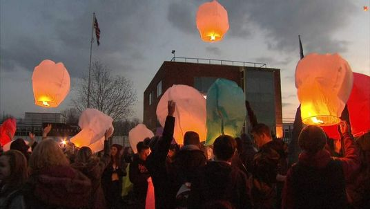 Lanterns are released at Fred Longworth High School in Tyldesley.