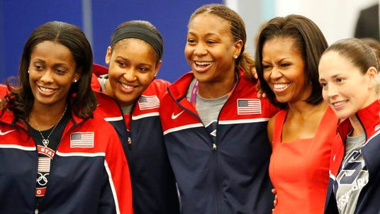 Michelle Obama after athletes breakfast with Team USA at London 2012