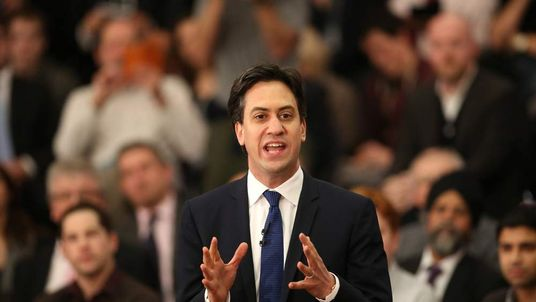 Labour Party Leader Ed Miliband Focuses On The Economy