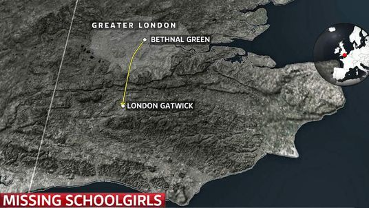 Journey from London to Syria taken by British schoolgirls