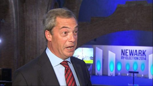 Nigel Farage speaks to Sky News at the Newark by-election count.