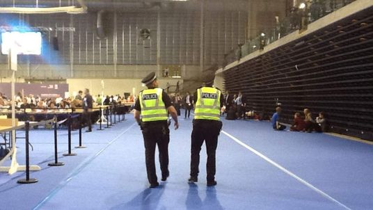 Police officers patrol the emirates arena in Glasgow