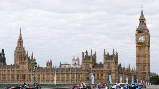 Formula E cars on Westminster Bridge