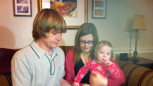 Alan Wright, with wife Karlyn and daughter Esme