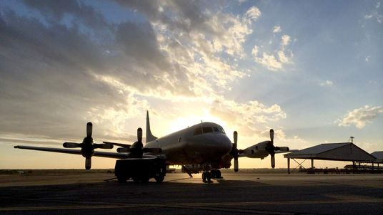 The P3 Orion search plane returns to RAAF Base Pearce north of Perth. Pic: Mark Stone