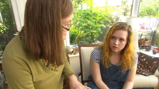 Roisin Logan, an 18-year-old art student, (Right) with voice coach Christine Hubbard