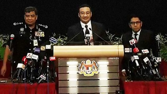 A press conference on Malaysia Airlines flight MH370
