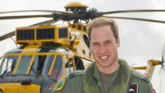 The Duke of Cambridge in front of Sea King helicopter