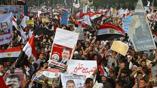 Thousands of Islamists take part in a rally in front of Cairo's University.