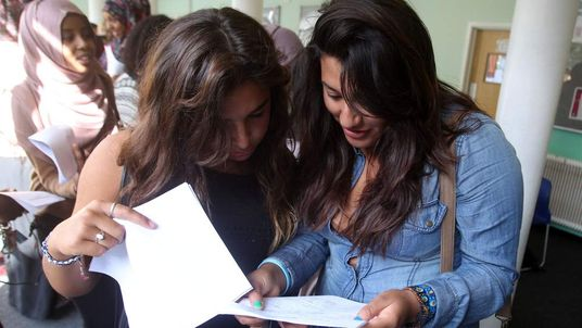 Girls receiving their GCSE results
