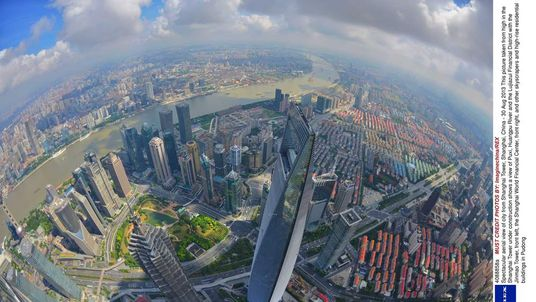 Spectacular aerial view of city from Shanghai Tower, Shanghai, China - 30 Aug 2013